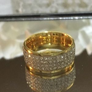 QVC Steel by Design silk fit crystal ring size 6